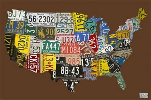 Usa License Plate Map – Chocolate Canvas Wall Artoopsy Daisy Pertaining To License Plate Map Wall Art (View 12 of 20)