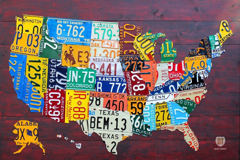 Usa License Plate Map | Ebay within License Plate Map Wall Art