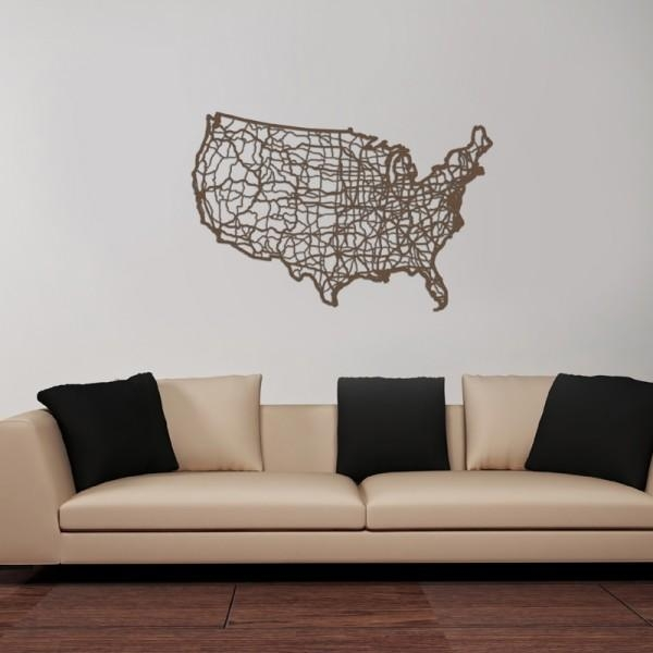 Usa Map Wooden Wall Artcut Maps – Rosenberryrooms Intended For Usa Map Wall Art (View 11 of 20)