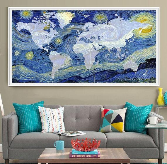 Van Gogh World Map Poster Print Extra Large Map Wall Art Within Large Map Wall Art (Image 13 of 20)