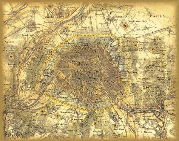 Vintage France Paris City Map Retro Oil Painting Print On Canvas With Regard To Paris Map Wall Art (Image 16 of 20)