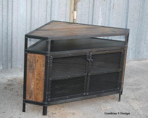 Vintage Industrial Tv Stand - Corner Unit. Urban, Modern. Media Center throughout Preferred Industrial Corner Tv Stands