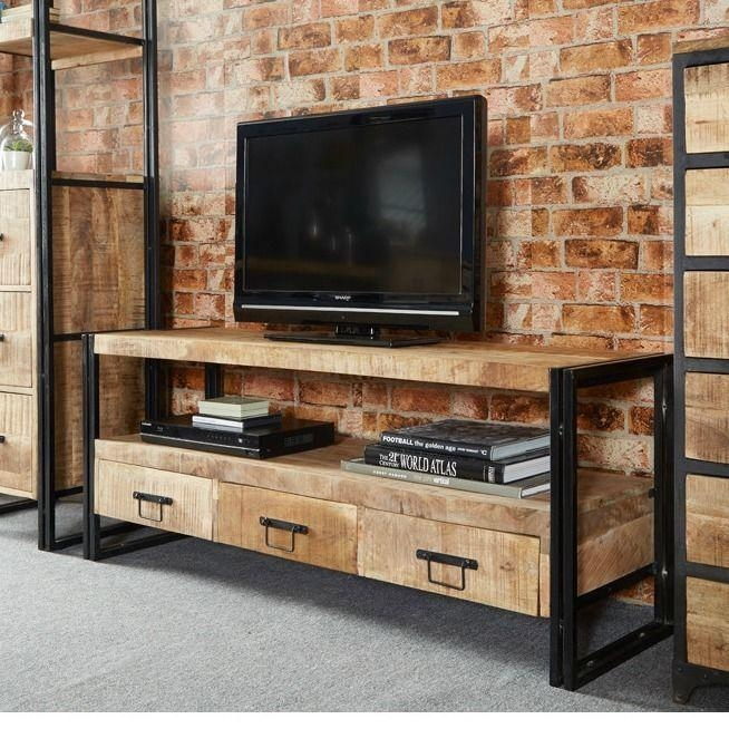 Vintage Industrial Tv Stand Entertainment Centre Storage Drawers for Latest Industrial Corner Tv Stands