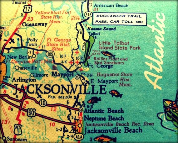 Vintage Map Jacksonville Retro Florida Photograph Print 8X10 In Florida Map Wall Art (Image 20 of 20)