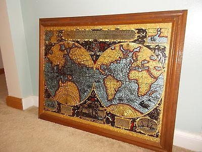 Vintage Vera Totivs Old World Nautical Map Foil Gold Leaf Mirror Pertaining To Nautical Map Wall Art (View 9 of 20)