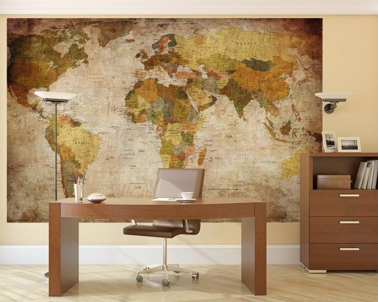Vintage World Map Wall Mural Within Vintage World Map Wall Art (Image 13 of 20)