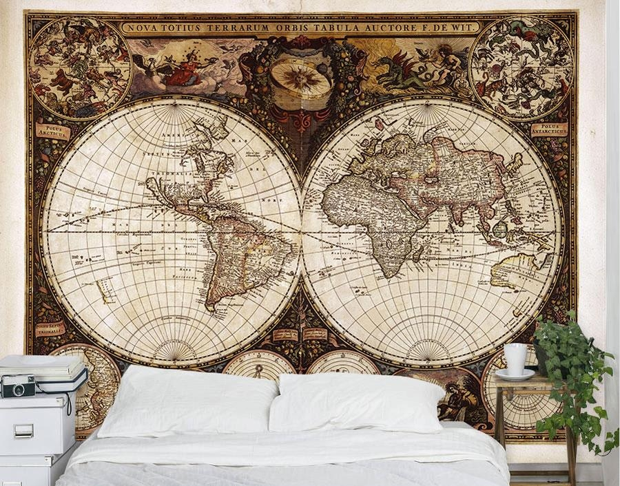 Vintage World Map Wall Mural – Your Decal Shop | Nz Designer Wall With Regard To New Zealand Map Wall Art (Photo 16 of 20)