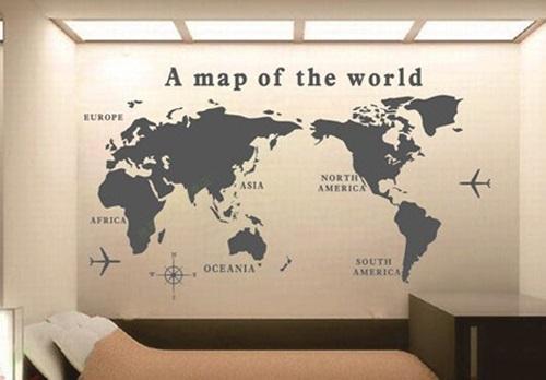 Wald Wall Art World Map Pattern Removable Wall Sticker Decal With World Map Wall Art (Image 11 of 20)