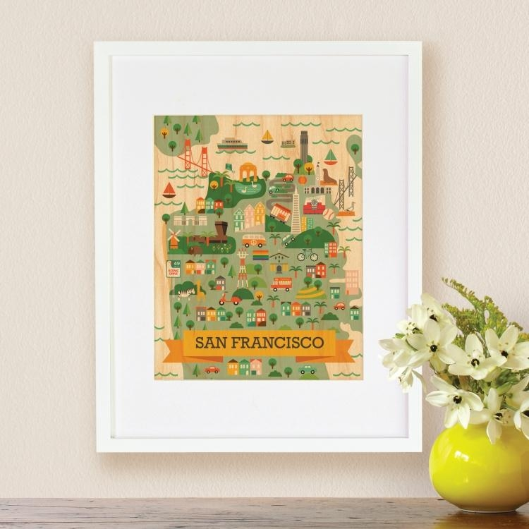 Wall Art Collage Map Wall – Supertechcrowntower With San Francisco Map Wall Art (View 7 of 20)