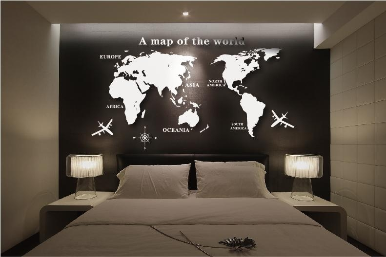Wall Art Decal World Map Wall Sticker Globe Earth Wall Decor For With World Map Wall Art Stickers (Image 12 of 20)