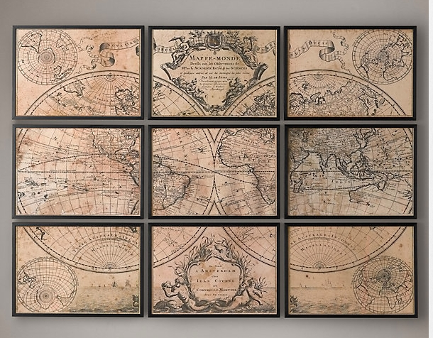 Wall Art Decor: Crafthub Modern Vintage Map Wall Art Classic World Intended For Map Wall Artwork (Image 13 of 20)