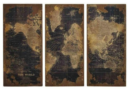 Wall Art Decor: High Design Vintage Map Wall Art Quality World Throughout Map Wall Artwork (Image 14 of 20)