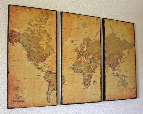 Wall Art Decor: Perfect Vintage Map Wall Art Very Detailed Artwork Throughout World Map Wall Artwork (Image 16 of 20)