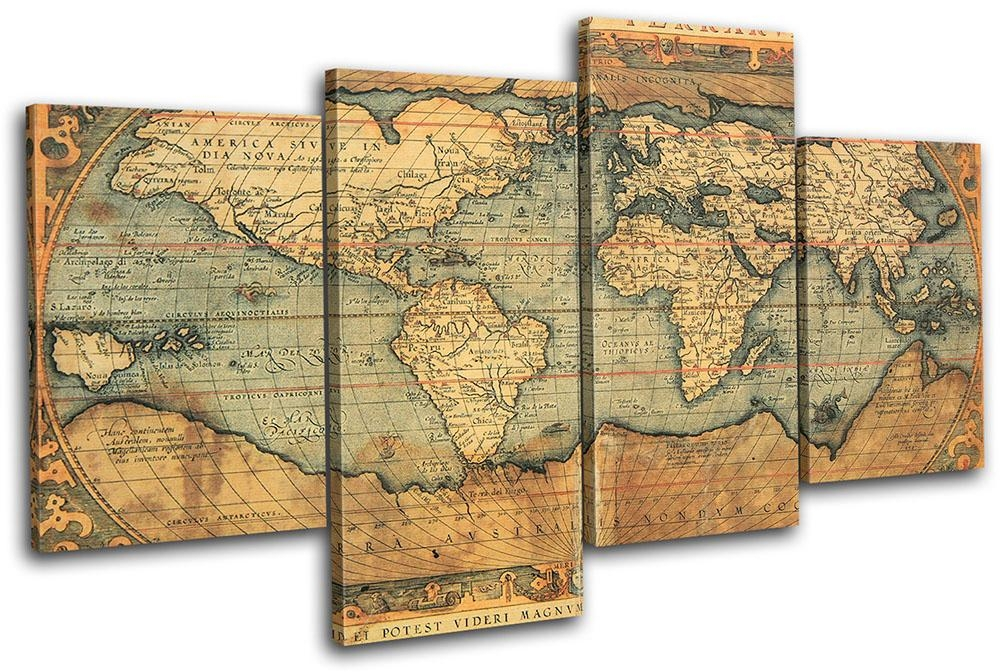 Wall Art Design Ideas: Brown Simple Vintage World Map Wall Art Regarding World Map Wall Art Canvas (Image 14 of 20)