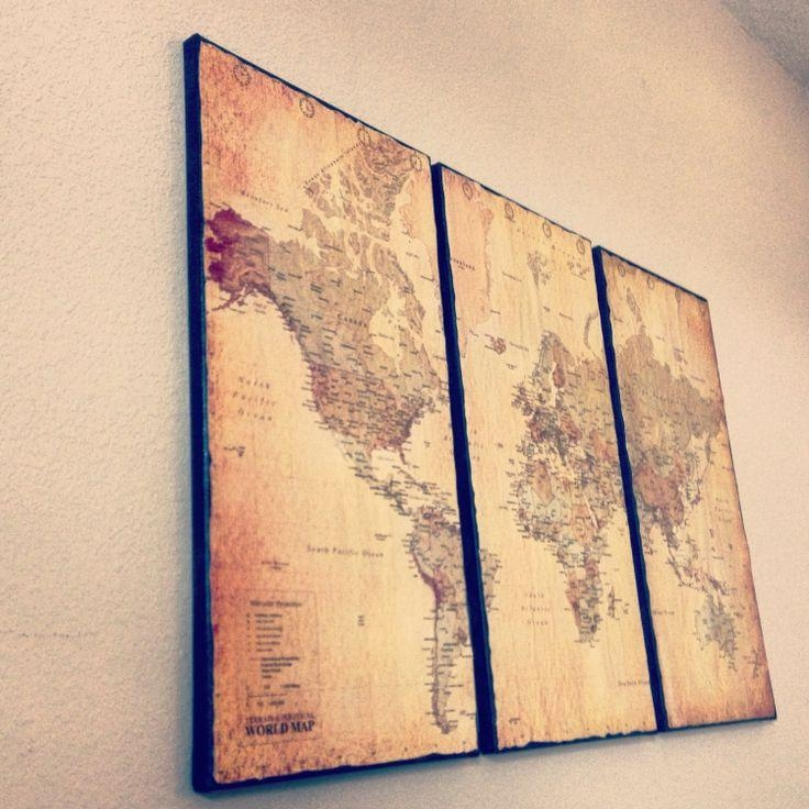 Wall Art Design Ideas: Customize Framed Vintage World Map Wall Art Throughout Canvas Map Wall Art (View 19 of 20)