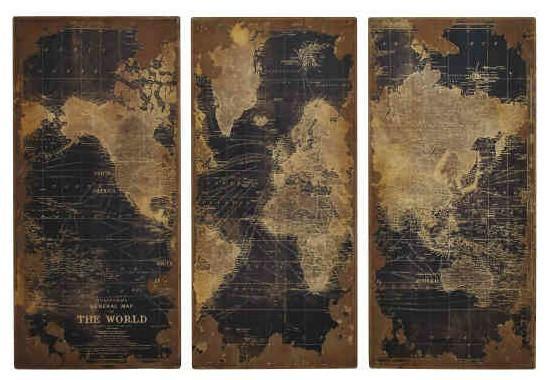 Wall Art Design Ideas: High Design Vintage World Map Wall Art In World Map Wall Art Framed (Image 7 of 20)