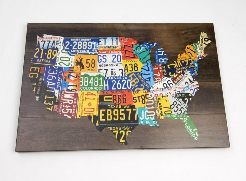 Wall Art Design Ideas: License Colorfull Wall Art Usa Unique Home With Usa Map Wall Art (Image 13 of 20)