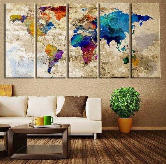 Wall Art Design Ideas: Simple X Large Wall Art Blue Great Theme With Regard To World Map Wall Art Canvas (View 10 of 20)