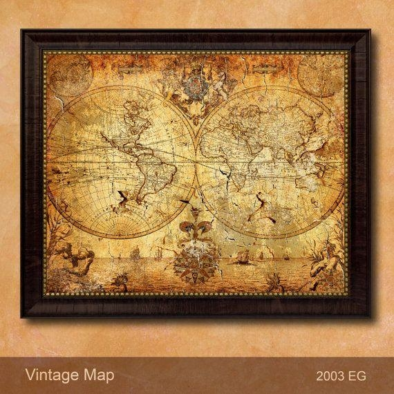 Wall Art Designs: Awesome Antique Map Wall Art Vintage Map Art In Old Map Wall Art (Image 14 of 20)