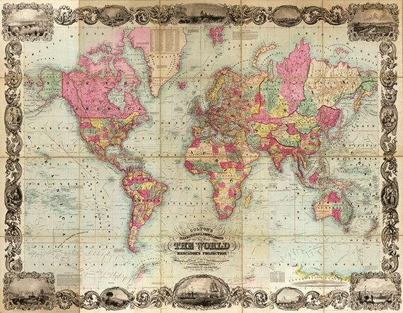 Wall Art Designs: Awesome Antique Map Wall Art Vintage Map Art Pertaining To Cool Map Wall Art (Image 19 of 20)