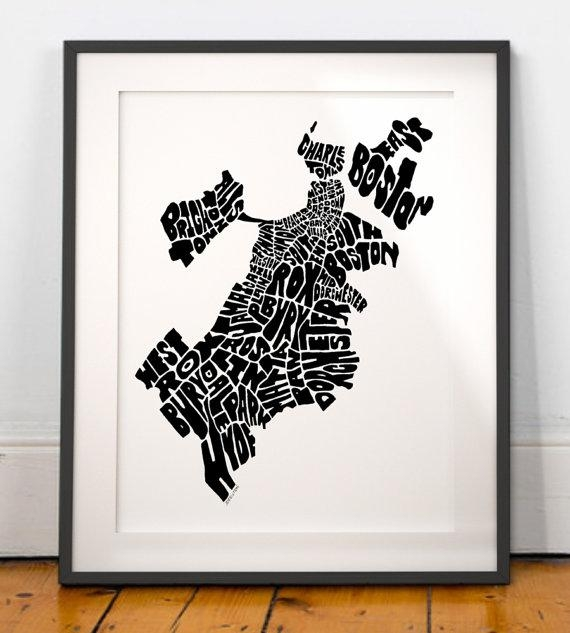 Wall Art Designs: Boston Wall Art Boston Typography Map Boston Art Within  Boston Map Wall