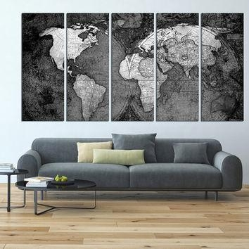 Wall Art Designs: Extra Large Wall Art World Map Canvas Art Print With Map Wall Art Prints (View 14 of 20)