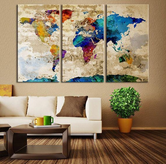 Wall Art Designs: Large Canvas Wall Art Watercolor World Map With Regard To World Map Wall Art Canvas (Image 17 of 20)