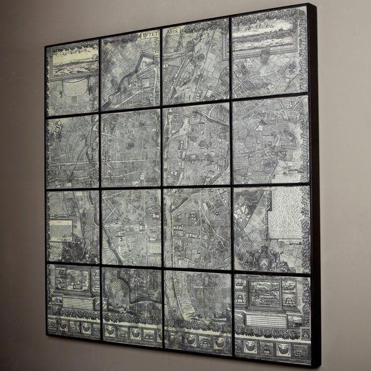 Wall Art Designs: Mirror Wall Art Map Of Paris On Antique Mirror For Paris Map Wall Art (Image 17 of 20)