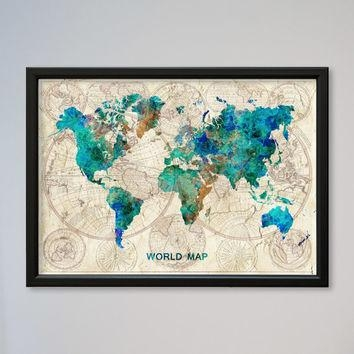 Wall Art Designs: Most Historical World Map Wall Art Framed In Framed Map Wall Art (Image 16 of 20)