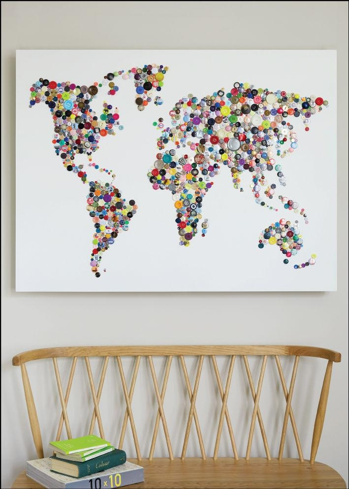 Wall Art Designs: Wall Art Map Of The World Decor Poster Large Inside Personalized Map Wall Art (View 3 of 20)