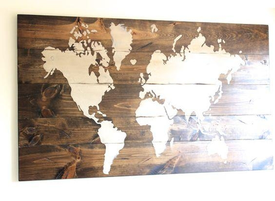 Wall Art Designs: Wooden World Map Wall Art 4 Panel Wall Art The Intended For Abstract World Map Wall Art (Image 16 of 20)