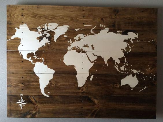 Wall Art Designs: Wooden World Map Wall Art Hand Made Hand Painted Pertaining To Travel Map Wall Art (Image 16 of 20)