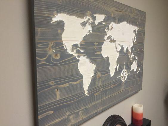 Wall Art Designs: Wooden World Map Wall Art Weathred Wood Map Wall In World Map Wall Art (Image 13 of 20)