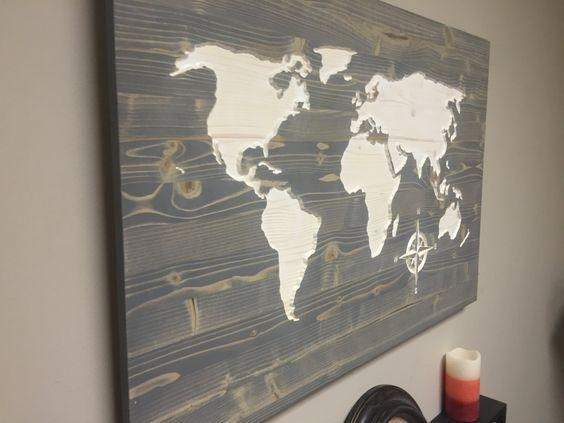 Wall Art Designs: Wooden World Map Wall Art Weathred Wood Map Wall Regarding Personalized Map Wall Art (Image 15 of 20)