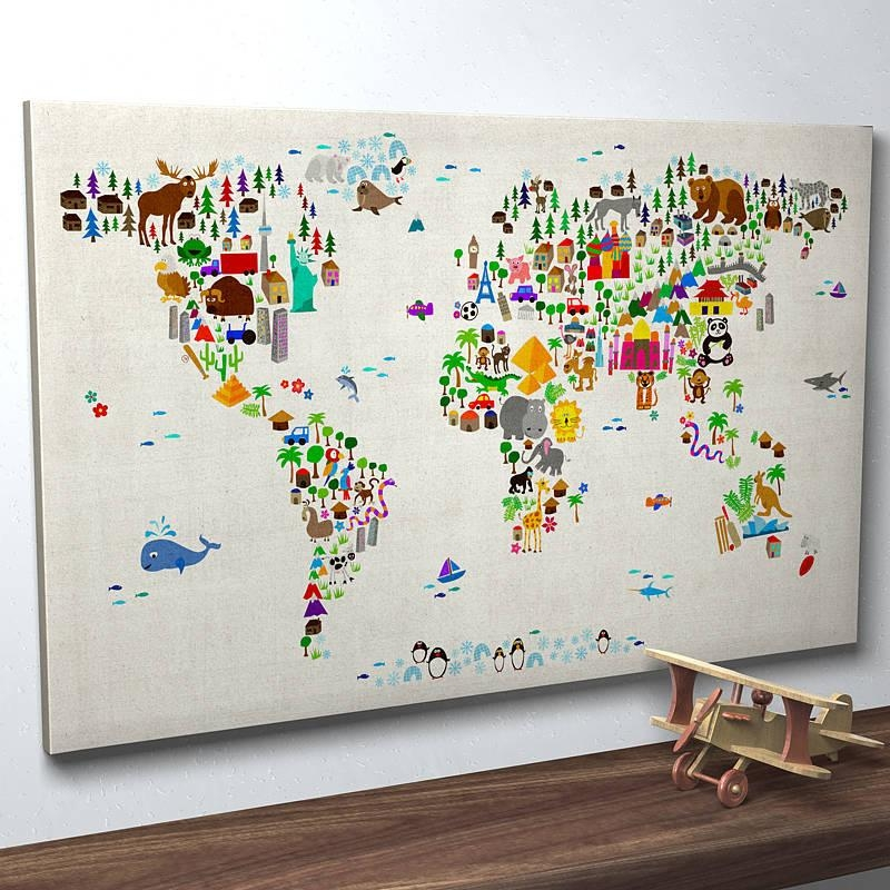 Wall Art Designs: World Map Wall Art Wall Map Art Ideas Inspiring Within Personalized Map Wall Art (Photo 6 of 20)