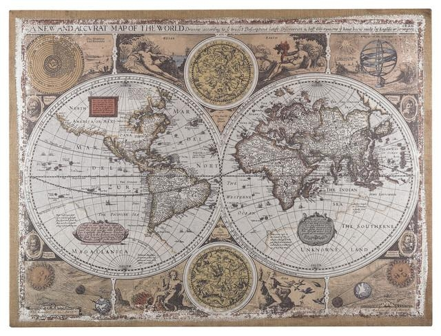 Wall Art: Gallery Of Old World Map Wall Art World Market Wall Art Inside Old Map Wall Art (Image 16 of 20)