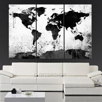 Wall Art Ideas Design : Nice Multi Large Black And White Wall Art Regarding Map Wall Artwork (View 16 of 20)