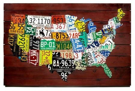Wall Art: Us Map Made From State License Plates Throughout License Plate Map Wall Art (Image 20 of 20)