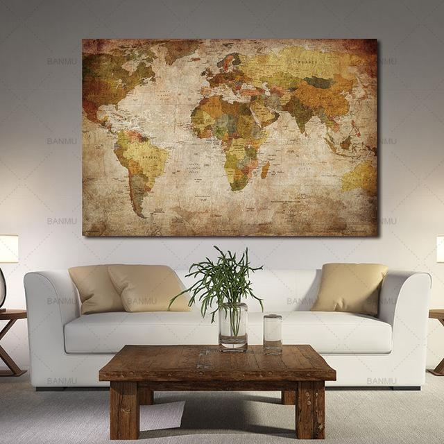 Wall Art Wall Picture For Living Room Canvas Painting 1 Panel With Vintage World Map Wall Art (Image 17 of 20)
