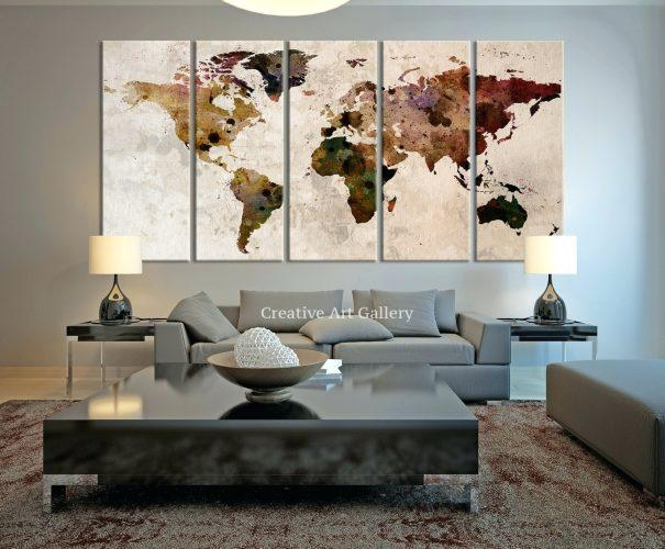 Wall Arts ~ Large Canvas Print Rustic World Map Large Wall Art With Large Map Wall Art (Image 15 of 20)