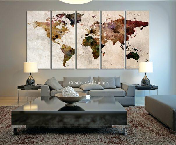 Wall Arts ~ Large Canvas Print Rustic World Map Large Wall Art With Large Map Wall Art (Image 15 of 20)