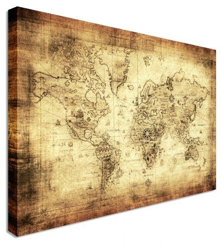Wall Arts ~ Large Classic Vintage World Map Wall Art Brown Wooden For Paris Map Wall Art (Image 19 of 20)