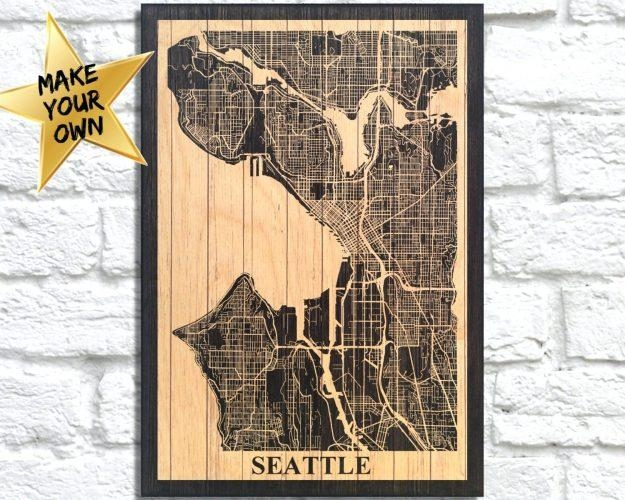 Wall Arts ~ Seattle Wall Art Ikea Metal Wall Art Seattle Gift For Regarding Seattle Map Wall Art (Image 20 of 20)