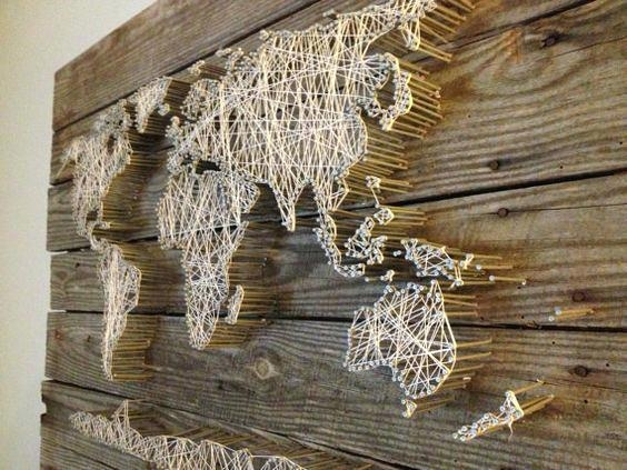 Wall Decor Maps String Art World Map Barn Door Wood Wall Decor Throughout String Map Wall Art (View 20 of 20)