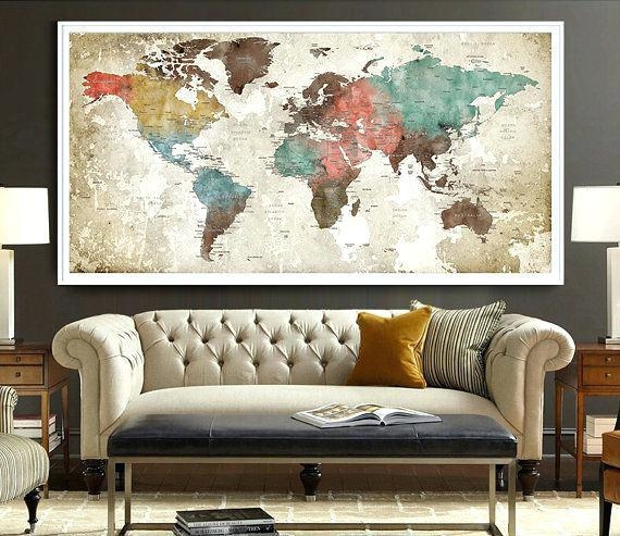 Wall Decor Maps World Map Poster Watercolor World Map Art Print Within World Map Wall Artwork (Image 19 of 20)