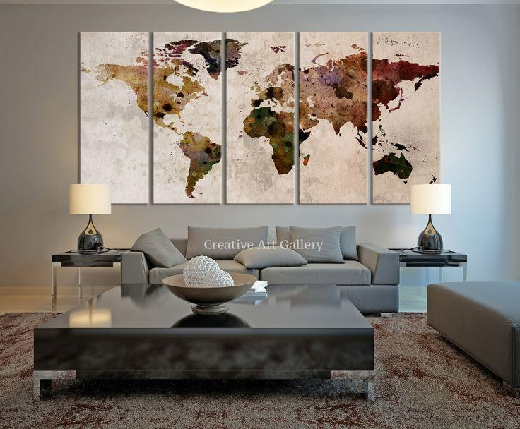 Wall Decor: Nice Decorative Wall Maps Map Wall Hangings Regarding Large World Map Wall Art (Image 15 of 20)