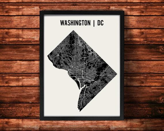 Washington Dc Map Art Print Washington Dc Print Washington For Washington Dc Map Wall Art (Image 13 of 20)