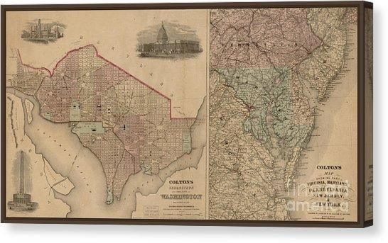 Washington Dc Map Canvas Prints (Page #5 Of 7) | Fine Art America Regarding Washington Dc Map Wall Art (View 12 of 20)