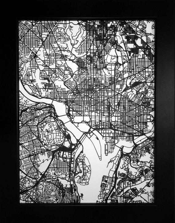 Washington Dc Map Laser Cut Map Dc Wall Art Map Of Intended For Washington Dc Map Wall Art (Image 16 of 20)