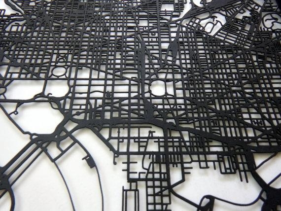 Washington Dc Map Laser Cut Map Dc Wall Art Map Of Within Street Map Wall Art (Image 20 of 20)